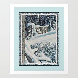 WINTER'S LAST FIREWOOD VINTAGE OIL PAINTING Art Print