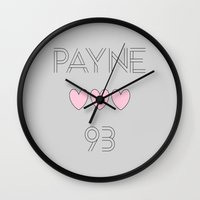 liam payne Wall Clocks featuring Liam Payne 1993 by Diamond Merch