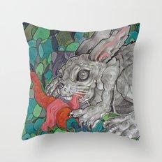 Greedy Bunny Throw Pillow