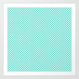 Bright Turquoise Polka Dots Art Print