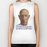 pablo picasso Biker Tanks featuring Celebrity Sunday ~ Pablo Picasso by rob art | illustration