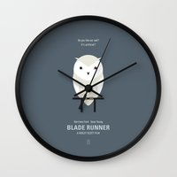 blade runner Wall Clocks featuring Blade Runner by Smile In The Mind