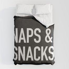 Naps and Snacks - black version Comforters