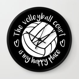 The volleyball court is my happy place typography Wall Clock
