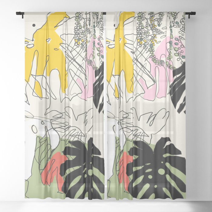 jungle leaves line drawing Sheer Curtain
