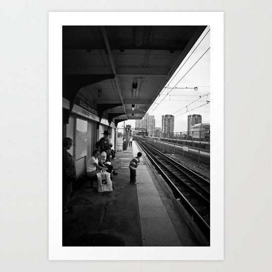 Waiting for Train Art Print