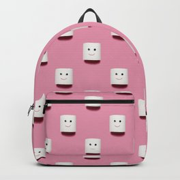 Happy smiling toilet paper pattern on pink Backpack