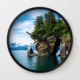 USA Kenai Fjords National Park Crag Spruce Nature Parks Rivers Rock Cliff park river Wall Clock