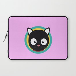 Black Cat with Green Circle Laptop Sleeve