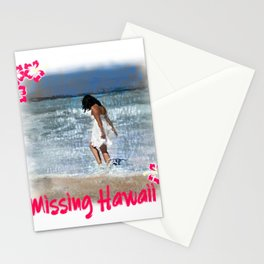 Missing Hawaii Vacation Surfing Sunset Beach Aloha Stationery Cards