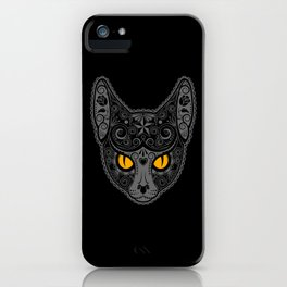 Gray Day of the Dead Sugar Skull Cat iPhone Case