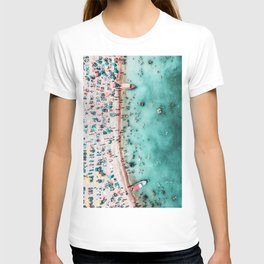 Aerial Beach Print, Large Printable Ocean Waves Wall Art, Teal Coastal Decor, Beach With People T-shirt