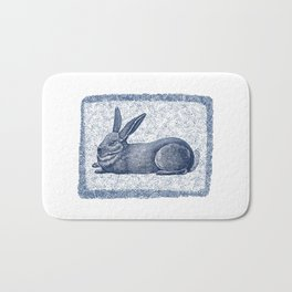 Rabbit print, Vintage Rabbit, Animal Wall Art Bath Mat