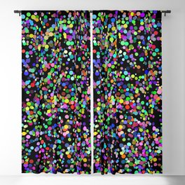 Rainbow confetti on a black blackground Blackout Curtain