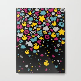 Toys falling like candies from starry night sky Metal Print
