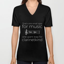 Crossing the break (clarinet) - white text for dark t-shirts Unisex V-Neck