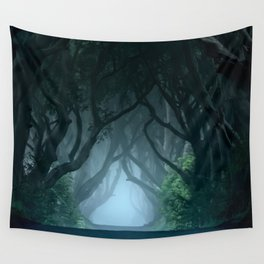 Cold foggy morning in Dark Hedges Wall Tapestry