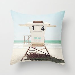 Lifeguard Stand, Beach Photography, San Diego California, Blue Aqua Seashore Ocean Summer Art Throw Pillow
