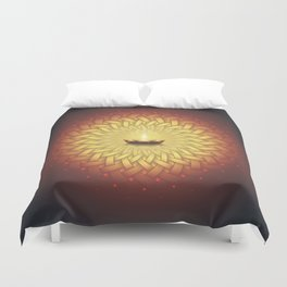 Сontemplation. Sacred geometry mandala, candle and lotus Duvet Cover