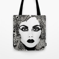 psych Tote Bags featuring psych hair by Blak Hand
