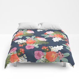 Navy Peach Foral Comforters