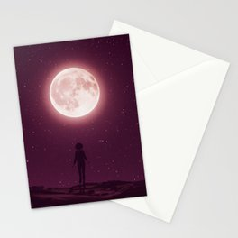 Girl walking to the moon in starry night,3d rendering Stationery Cards