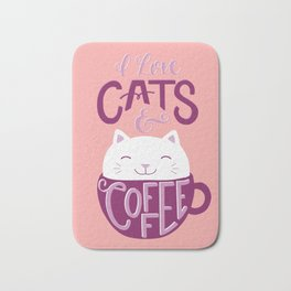 I Love Cats and Coffee Bath Mat