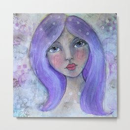 Purple Hair Whimiscal Girl Metal Print