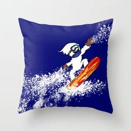 Magical Snowboarding Yeti Throw Pillow