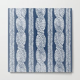 Cable Navy Metal Print