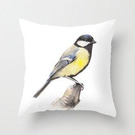 Great tit Throw Pillow