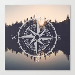 Wooded Lake Reflection Compass Canvas Print