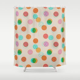 Smiley Face Stamp Print Shower Curtain