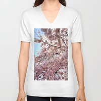 cherry blossoms V-neck T-shirts featuring Cherry Blossoms by Kristy Webb