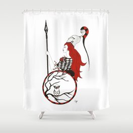 The Lady Athena, Goddess of Wisdom and War Shower Curtain
