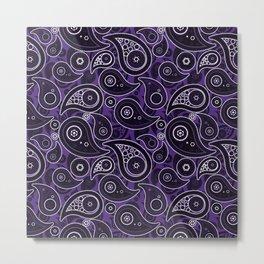 Indigo Purple Paisley Pattern Metal Print