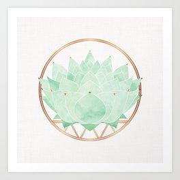 Green Succulent Watercolor Art Print