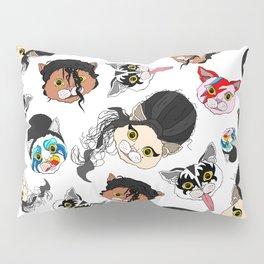 Pop Cats - Pattern on White Pillow Sham