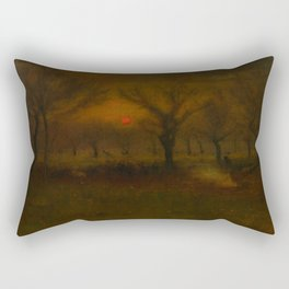 George Inness - Sunrise in the Apple Orchard Rectangular Pillow