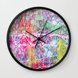Mystical Mountains Wall Clock