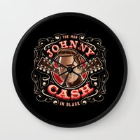 johnny cash Wall Clocks featuring Johnny Cash Pinstripe by Roberlan Borges