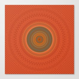 Vintage Orange Turquoise Pattern Mandala Canvas Print