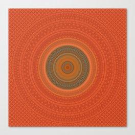 Vintage Orange Turquoise Pattern Mandala Canvas Print
