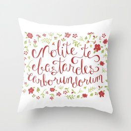 Don't Let the Bastards Grind You Down - Red Floral Throw Pillow