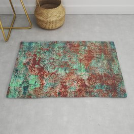 Abstract Rust on Turquoise Painting Rug