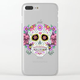Sugar Skull with Flowers on Turquoise Clear iPhone Case