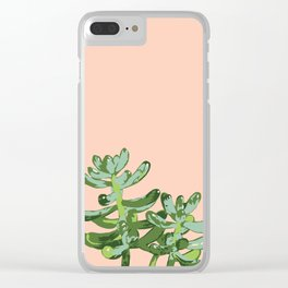 Just Peachy Desert Sprout - Succulent Green and Peach Clear iPhone Case
