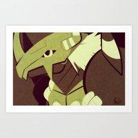 digimon Art Prints featuring BWGreymon - Digimon by frolis