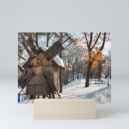 Winter Romanian postcard with windmills Mini Art Print
