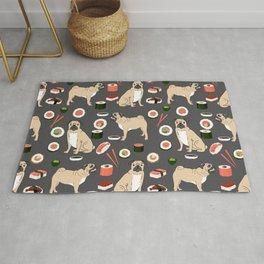 Pug sushi pattern dog breed cute pet art pet friendly gifts pugs Rug